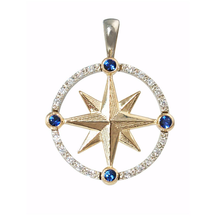 Compass Rose with Diamonds & Sapphires
