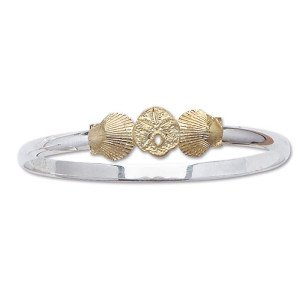 Bangle Bracelet with Sanddollar and Scallop Shells