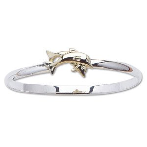 Bangle Bracelet with Double Dolphins