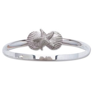 Bangle Bracelet with Starfish and Scallop Shells