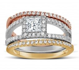 2-carat-princess-cut-tri-color-white-rose-and-yellow-gold-trio-wedding-ring-set