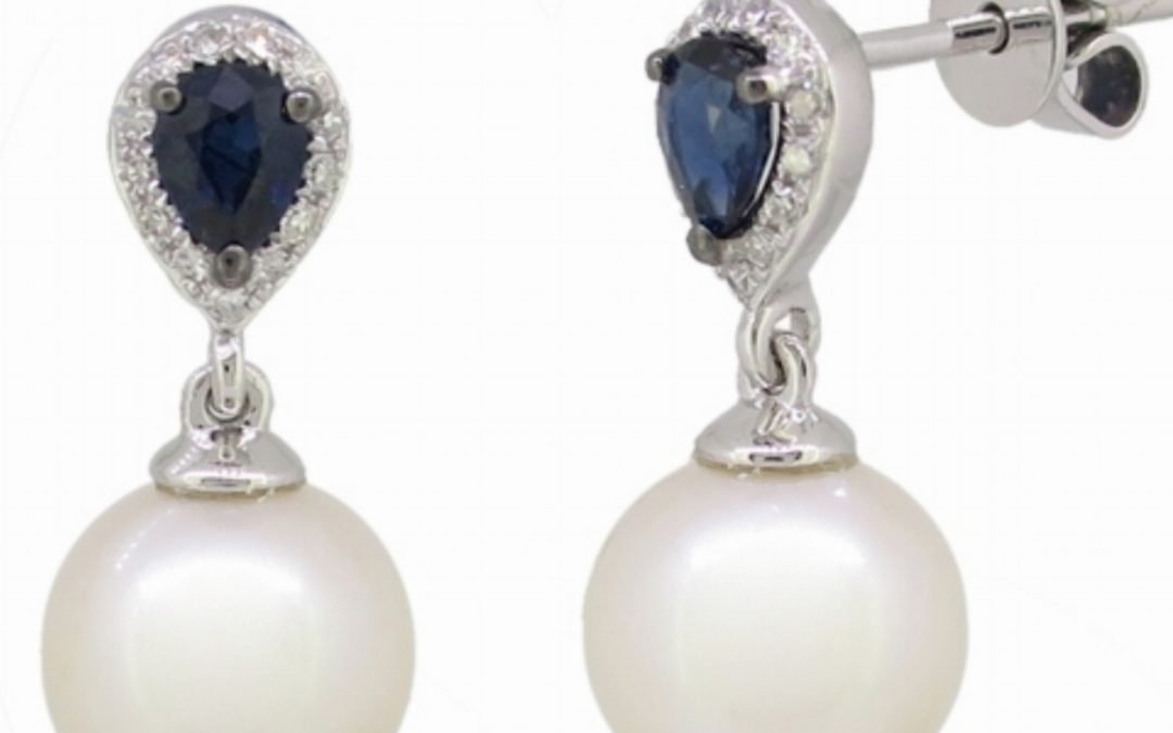 Pearl with Sapphire & Diamond Earrings