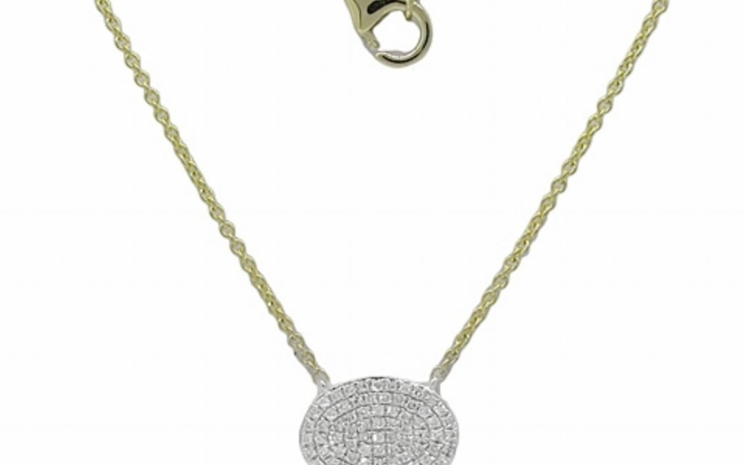 Diamond Oval Disc Necklace