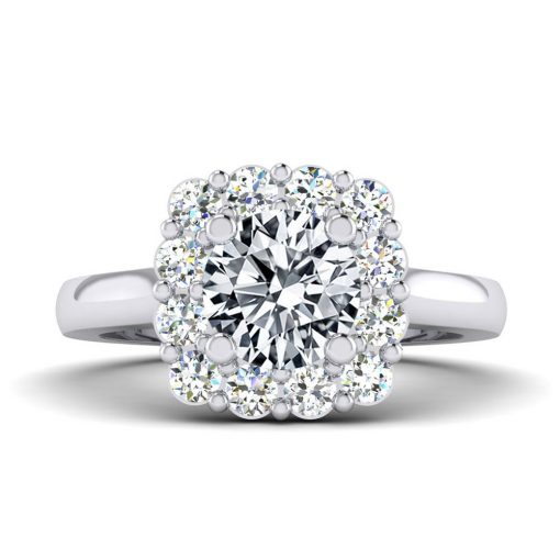 Shiny Diamond bridal engagement ring made by Facets, sold at King Jewelers in Cohasset, Massachusetts