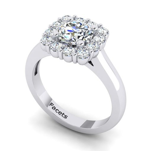 Beautiful Diamond bridal engagement ring made by Facets, sold at King Jewelers in Cohasset, Massachusetts