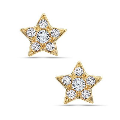 Image of gold star shaped earrings with 6 diamonds