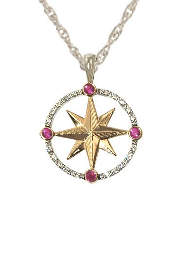 Image of a compass rose pendant sold by King Jewelers in Cohasset, MA