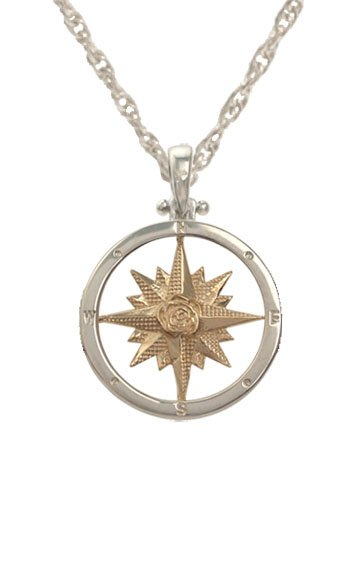 Image of a compass rose pendant sold by King Jewelers in Cohasset, Massachusetts