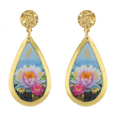 Image of lotus flower teardrop earrings sold by King Jewelers, Cohasset, MA