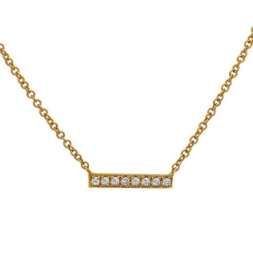 Image of a gold necklace with a straight bar and 8 diamonds