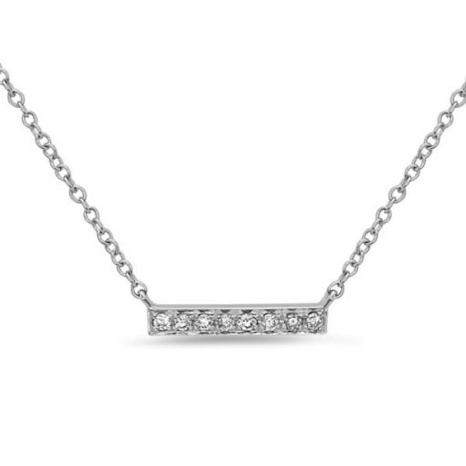Image of a silver necklace with a straight bar and 8 diamonds