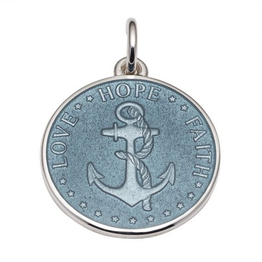 Gray colored Anchor Medal that says Love, Hope, Faith. Sold by King Jewelers in Cohasset, Massachusetts