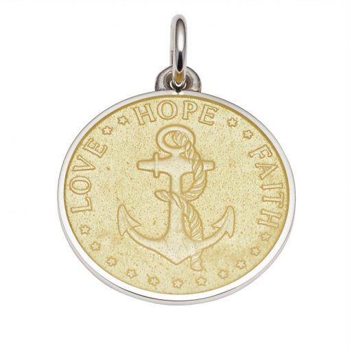 Yellow colored Anchor Medal that says Love, Hope, Faith. Sold by King Jewelers in Cohasset, Massachusetts