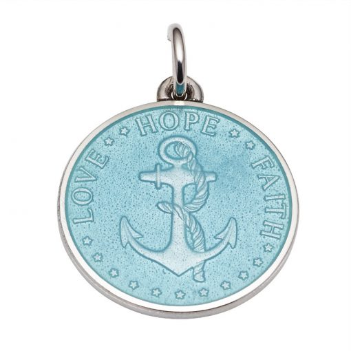 Light Blue colored Anchor Medal that says Love, Hope, Faith. Sold by King Jewelers in Cohasset, Massachusetts