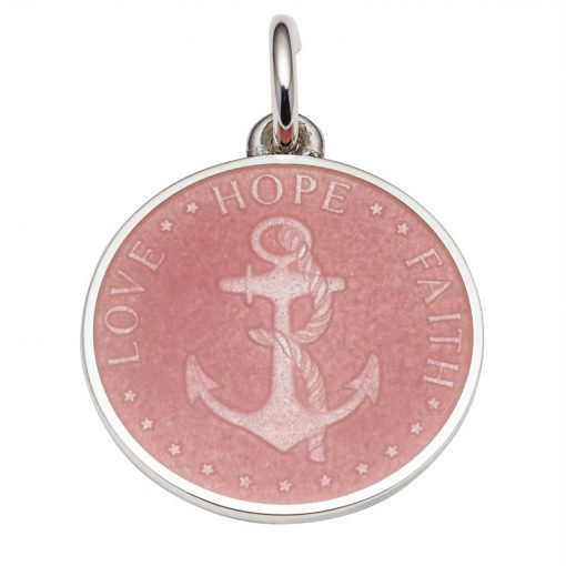 Pink colored Anchor Medal that says Love, Hope, Faith. Sold by King Jewelers in Cohasset, Massachusetts
