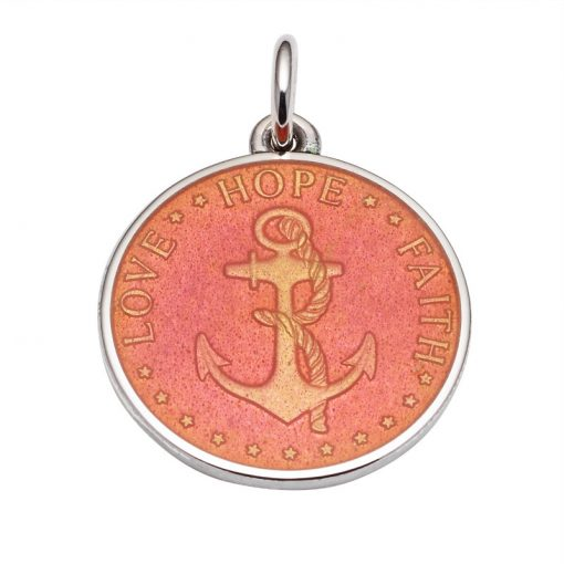 Coral colored Anchor Medal that says Love, Hope, Faith. Sold by King Jewelers in Cohasset, Massachusetts