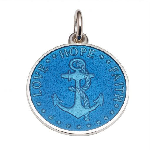 Blue colored Anchor Medal that says Love, Hope, Faith. Sold by King Jewelers in Cohasset, Massachusetts