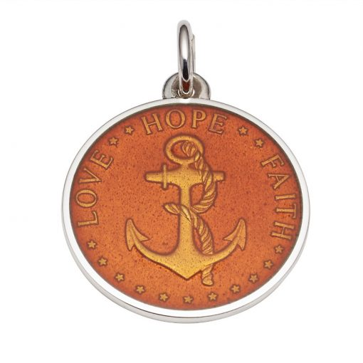 Tangerine colored Anchor Medal that says Love, Hope, Faith. Sold by King Jewelers in Cohasset, Massachusetts