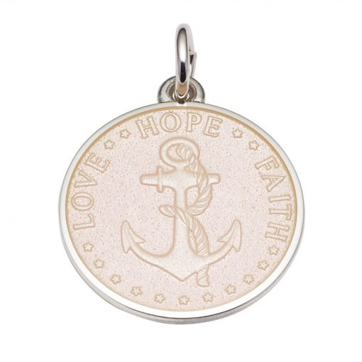French Vanilla colored Anchor Medal that says Love, Hope, Faith. Sold by King Jewelers in Cohasset, Massachusetts