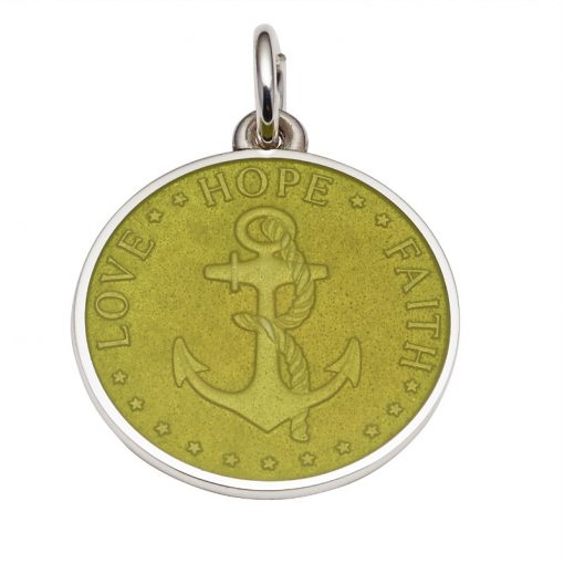 Kiwi colored Anchor Medal that says Love, Hope, Faith. Sold by King Jewelers in Cohasset, Massachusetts