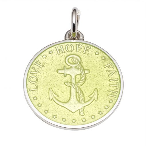 Lemon Lime colored Anchor Medal that says Love, Hope, Faith. Sold by King Jewelers in Cohasset, Massachusetts