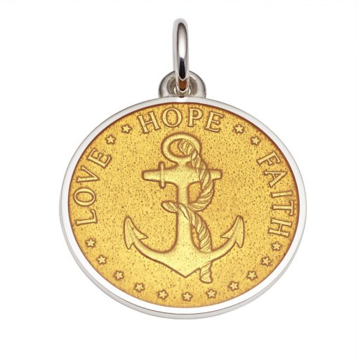 Gold colored Anchor Medal that says Love, Hope, Faith. Sold by King Jewelers in Cohasset, Massachusetts