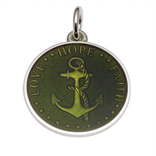 Moss Green colored Anchor Medal that says Love, Hope, Faith. Sold by King Jewelers in Cohasset, Massachusetts