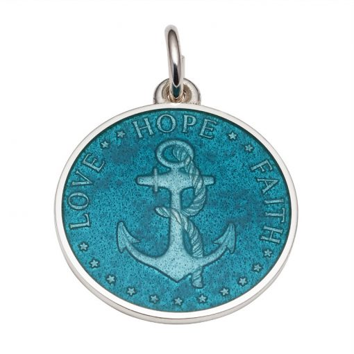 Teal colored Anchor Medal that says Love, Hope, Faith. Sold by King Jewelers in Cohasset, Massachusetts