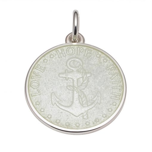 White colored Anchor Medal that says Love, Hope, Faith. Sold by King Jewelers in Cohasset, Massachusetts