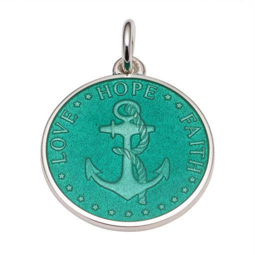 Jade colored Anchor Medal that says Love, Hope, Faith. Sold by King Jewelers in Cohasset, Massachusetts