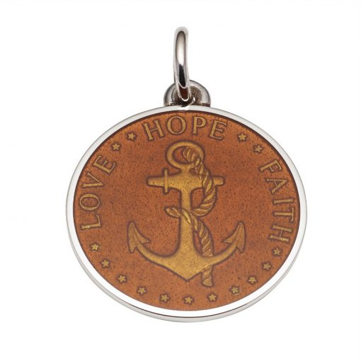 Topaz colored Anchor Medal that says Love, Hope, Faith. Sold by King Jewelers in Cohasset, Massachusetts