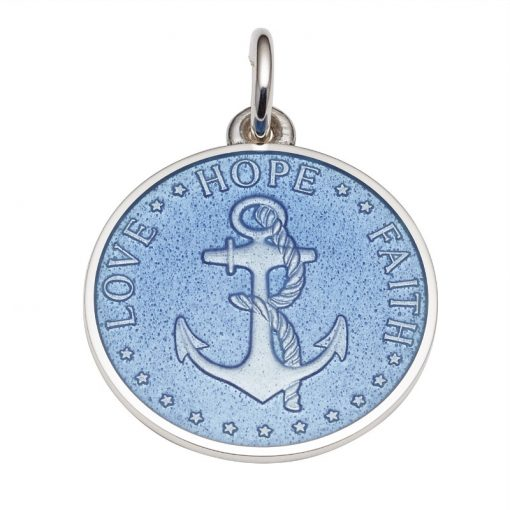 French Blue colored Anchor Medal that says Love, Hope, Faith. Sold by King Jewelers in Cohasset, Massachusetts
