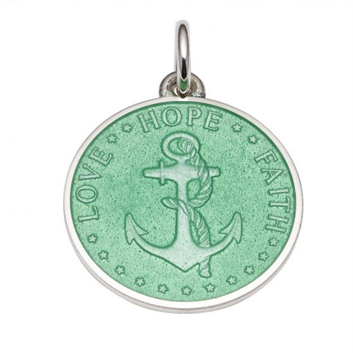 Light Green colored Anchor Medal that says Love, Hope, Faith. Sold by King Jewelers in Cohasset, Massachusetts
