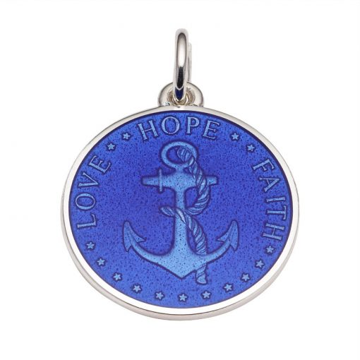 Royal Blue colored Anchor Medal that says Love, Hope, Faith. Sold by King Jewelers in Cohasset, Massachusetts