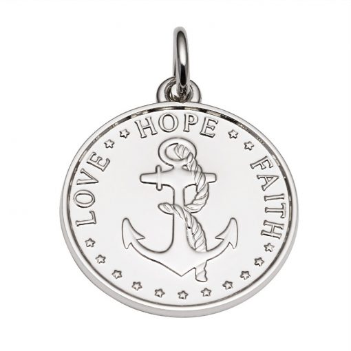 Plain colored Anchor Medal that says Love, Hope, Faith. Sold by King Jewelers in Cohasset, Massachusetts