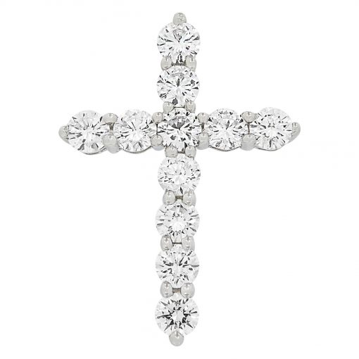 Image of a cross pendant made with diamonds and gemstones