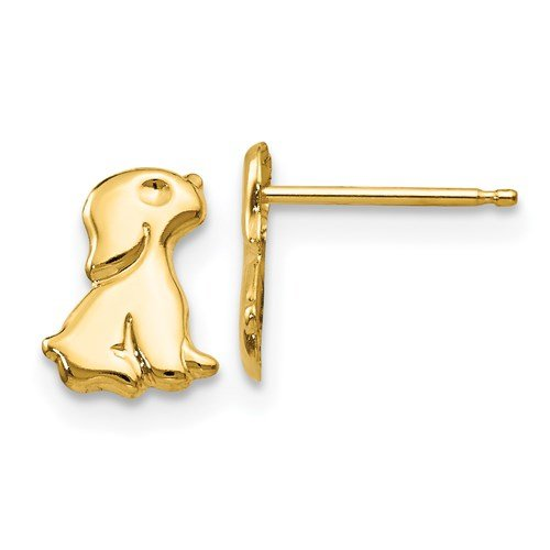 Image of gold puppy stud earrings sold by King Jewelers in Cohasset, Massachusetts