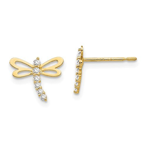 Image of gold dragonfly stud earrings sold by King Jewelers in Cohasset, Massachusetts