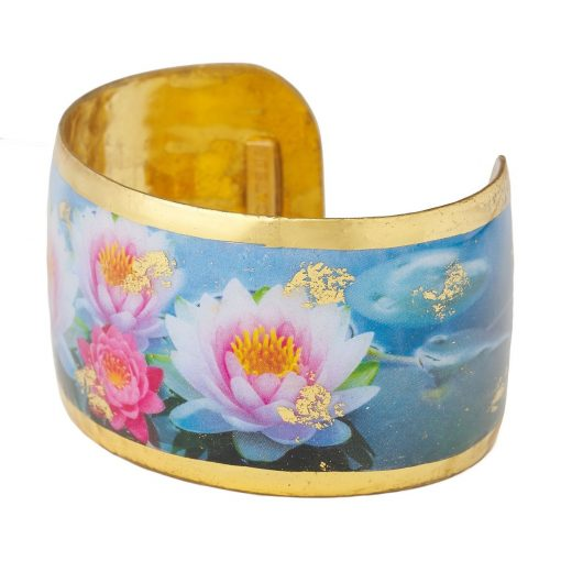 Image of a lotus flower cuff bracelet sold by King Jewelers, Cohasset, MA