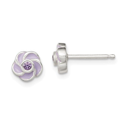 Image of purple flower stud earrings sold by King Jewelers in Cohasset, Massachusetts